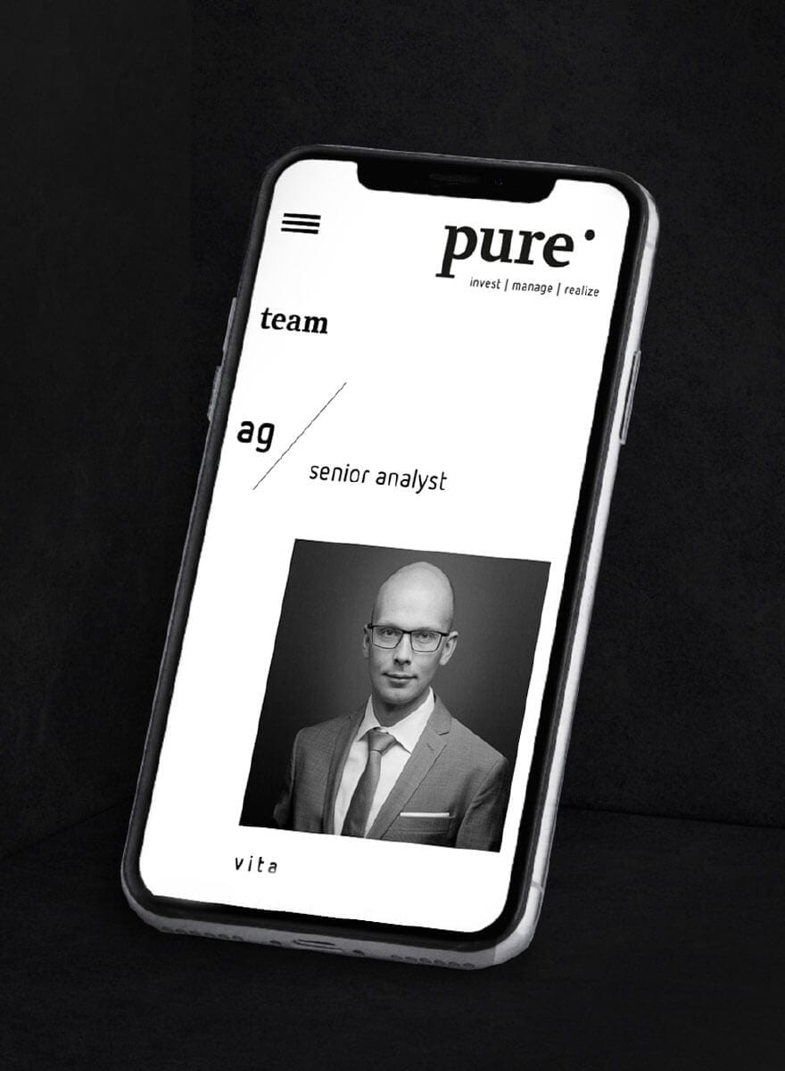 Website pure AG mobile Ansicht