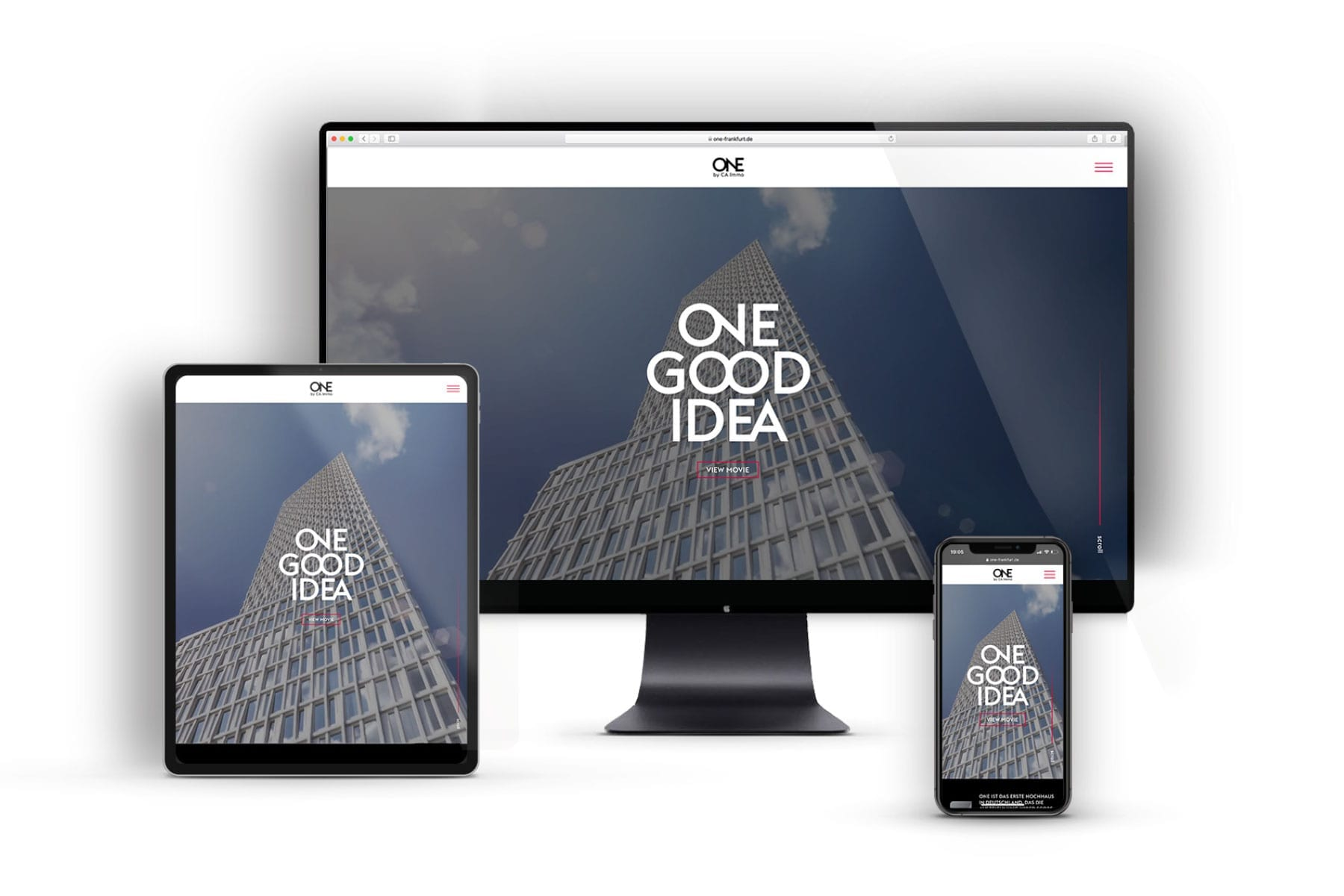 Branding-Kampagne ONE by CA Immo Website Overview